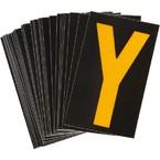 Буква Y светоотражающая Brady, желтый на черном, 42x72 мм, b-946, Винил, 25 шт.