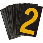 Цифра 2 Brady, желтый на черном, 38 шт, 35x48 мм, b-946, Винил, 25 шт.