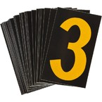 Цифра 3 Brady, желтый на черном, 38 шт, 35x48 мм, b-946, Винил, 25 шт.
