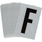 Буква F Brady, черный на серебряном,белом, 6 шт, 38x89 мм, b-946, Винил, 25 шт.