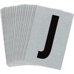 Буква J Brady, черный на серебряном,белом, 6 шт, 38x89 мм, b-946, Винил, 25 шт.