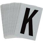 Буква K Brady, черный на серебряном,белом, 6 шт, 38x89 мм, b-946, Винил, 25 шт.