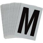 Буква M Brady, черный на серебряном,белом, 6 шт, 38x89 мм, b-946, Винил, 25 шт.