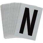 Буква N Brady, черный на серебряном,белом, 6 шт, 38x89 мм, b-946, Винил, 25 шт.