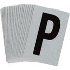 Буква P Brady, черный на серебряном,белом, 6 шт, 38x89 мм, b-946, Винил, 25 шт.