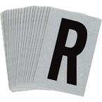 Буква R Brady, черный на серебряном,белом, 6 шт, 38x89 мм, b-946, Винил, 25 шт.