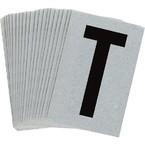 Буква T Brady, черный на серебряном,белом, 6 шт, 38x89 мм, b-946, Винил, 25 шт.