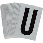 Буква U Brady, черный на серебряном,белом, 6 шт, 38x89 мм, b-946, Винил, 25 шт.