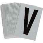 Буква V Brady, черный на серебряном,белом, 6 шт, 38x89 мм, b-946, Винил, 25 шт.