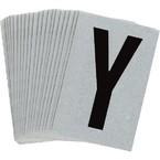 Буква Y Brady, черный на серебряном,белом, 6 шт, 38x89 мм, b-946, Винил, 25 шт.