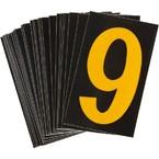 Цифра 9 Brady, желтый на черном, 25 шт, 25x38 мм, b-946, Винил, 25 шт.