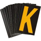 Буква K Brady, желтый на черном, 25 шт, 25x38 мм, b-946, Винил, 25 шт.