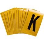 Буква K Brady, черный на желтом, 25 шт, 25x38 мм, b-946, Винил, 25 шт.