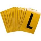 Буква L Brady, черный на желтом, 25 шт, 25x38 мм, b-946, Винил, 25 шт.