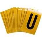 Буква U Brady, черный на желтом, 25 шт, 25x38 мм, b-946, Винил, 25 шт.