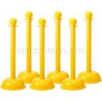 Столбик заграждения, желтый, диаметр 75 мм, высота 1,04 м, диаметр основания 40 см, 6 шт.