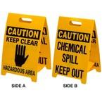 Штендер напольный двухсторонний Brady, желтый, «chemical spill… / hazardous area», 300x500 мм, 1 шт