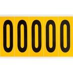 Цифра 0 Brady, черный на желтом, 5 шт, 44x127 мм, 25 шт. (gws97090)