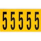 Цифра 5 Brady, черный на желтом, 5 шт, 44x127 мм, 25 шт.