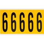 Цифра 6 Brady, черный на желтом, 5 шт, 44x127 мм, 25 шт.
