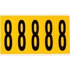 Цифра 8 Brady, черный на желтом, 5 шт, 44x127 мм, 25 шт.