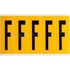 Буква F Brady, черный на желтом, 5 шт, 44x127 мм, 25 шт.