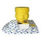 Мобильный комплект в контейнере SKH-240 для сбора проливов химических реагентов на 233 л: 150 салфеток, 41 × 51 см, 6 бонов SOC, диаметр 7,6 см × 244 см, 8 подушек