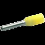 Втулочный изолированный наконечник Klauke 1676, 0,25 мм², длина втулки 6 мм, цветной ряд 2, светло-жёлтый