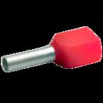 Двойной втулочный изолированный наконечник Klauke 8718, 2 × 1,0 мм², длина втулки 8 мм, красный