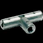 Латунный соединитель Т-образный Klauke TAS95 с зажимными болтами c отверстием для пайки