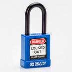 Замок безопасности Brady brady,корпус,стальная дужка,полностью покрыт нейлоном,корпус: дужка: цвет в упаковке, оранжевый,алюминиевый, 6.5 мм, 75 мм, 20x90x40 мм, 1, 6 шт
