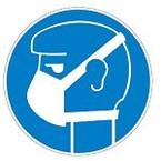 Знак безопасности предписывающий работать в средствах индивидуальной защиты органов дыхания Brady 50 мм, b-7541, Ламинация, pic 253, Полиэстер, 250 шт