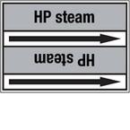 """Стрелка для маркировки трубопровода, легенда """"Overheated Steam"""", материал B-7529, черный на сером, 100 мм × 33 м, высота букв 13 мм, 220 шт."""