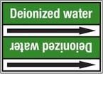 """Стрелка для маркировки трубопровода, легенда """"Distilled Water"""", материал B-7529, белый на зеленом, 100 мм × 33 м, высота букв 13 мм, 220 шт."""