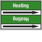 Стрелка для маркировки трубопровода Brady, белый на зеленом, «heating supply», 100x33000 мм, b-7529, 220 шт, 13 мм