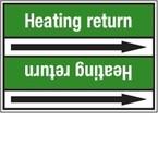 Стрелка для маркировки трубопровода Brady, белый на зеленом, «heating water», 100x33000 мм, b-7529, 220 шт, 13 мм
