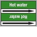 Стрелка для маркировки трубопровода Brady, белый на зеленом, «hot water supply», 100x33000 мм, b-7529, 220 шт, 13 мм