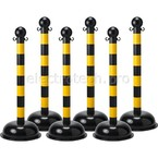 Столбик заграждения, полосатый черный/желтый, диаметр 75 мм, высота 1,04 м, диаметр основания 40 см, 6 шт.