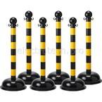 Столбик заграждения, полосатый черный/желтый отражающий, диаметр 75 мм, высота 1,04 м, диаметр основания 40 см, 6 шт.