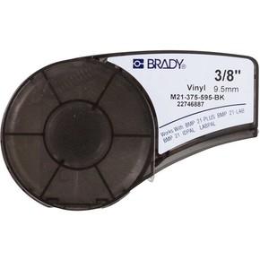 Самоклеящаяся лента Brady M21-375-595-BK, винил, печать белая на чёрном, 9,53 мм * 6,4 м