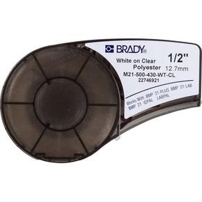 Самоклеящаяся лента Brady M21-500-430-WT-CL, полиэстер, печать белая на прозрачном, 12,7 мм * 6,4 м