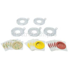 Дополнительное основание блокиратора пусковой / аварийной кнопки Brady большое до 30 мм,наклейки:, желтая,красная,прозрачная, Комплект, 5 шт