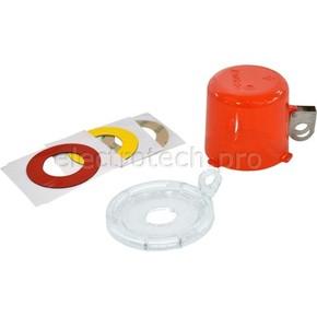 Блокираторы пусковой / аварийной кнопки малый Brady блокиратор,м до 16 мм,три наклейки:, желтая,красный,красная,прозрачная,алый, 50x64x9 мм, Комплект