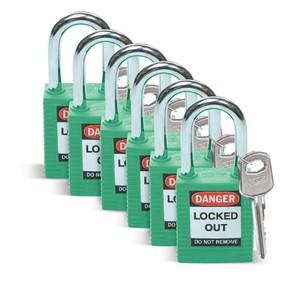 Замок безопасности стандартный Brady brady,стандартный,корпус,стальная дужка,цвет, зеленый, 6,5 мм, 38 мм, Нейлон, Химически инертен, Электроизолированная личина, 1