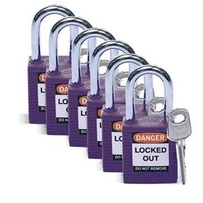 Замки алюминиевые Brady, оранжевый, 25 мм, 6.5, Алюминий, Устойчив к высокой температуре, 2, 6 шт