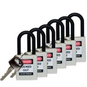 Замки алюминиевые Brady, черный, 40 мм, 6.5, Алюминий, Устойчив к высокой температуре, 2, 6 шт