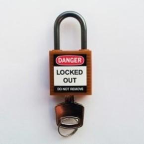 Замки компактные блокирующие Brady дужка, коричневый, 4,7 мм, 38 мм, Алюминий, Химически инертен, Электроизолированная личина, 1, 6 шт