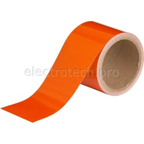 Cветоотражающая лента Brady дляразметки стен и пола, полиэстер, оранжевая, 75 мм × 4,5 м