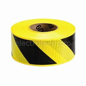Лента ограждения ультрастойкая Brady желто- 1, черная, 75x100000 мм, Рулон