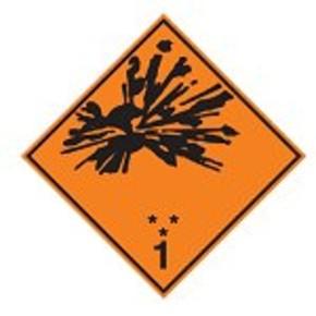 Знак маркировки грузов категория опасности 1.6 Brady adr 1.6, 297x297 мм, b-7541, Ламинация, Полиэстер, 1 шт